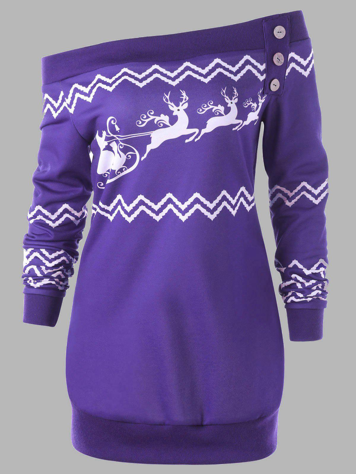 Plus Size Pullover Christmas Zigzag Deer Skew Neck SweatshirtWOMEN<br><br>Size: 4XL; Color: PURPLE; Material: Polyester,Spandex; Shirt Length: Long; Sleeve Length: Full; Style: Casual; Pattern Style: Character,Zig Zag(Chevron); Embellishment: Button; Season: Fall,Spring,Winter; Weight: 0.3500kg; Package Contents: 1 x Sweatshirt;