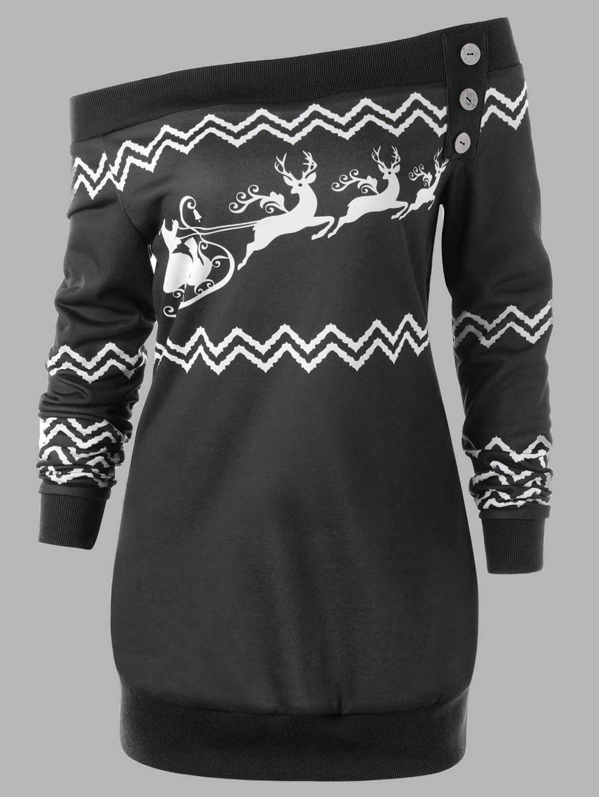 Plus Size Pullover Christmas Zigzag Deer Skew Neck SweatshirtWOMEN<br><br>Size: 4XL; Color: BLACK; Material: Polyester,Spandex; Shirt Length: Long; Sleeve Length: Full; Style: Casual; Pattern Style: Character,Zig Zag(Chevron); Embellishment: Button; Season: Fall,Spring,Winter; Weight: 0.3500kg; Package Contents: 1 x Sweatshirt;