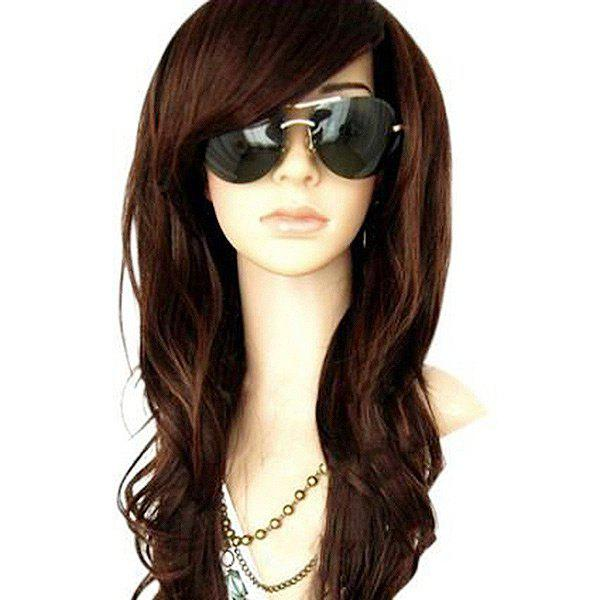 Unique Long Inclined Bang Wavy Heat Resistant Synthetic Wig