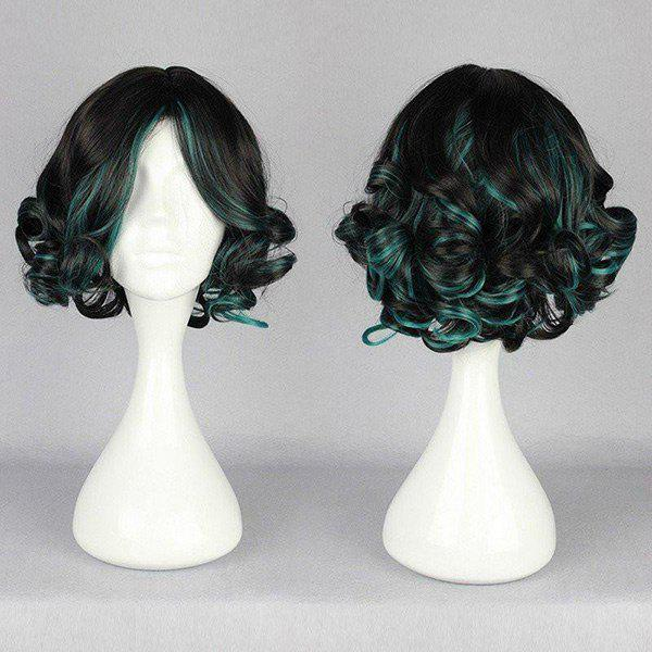 Affordable Short Side Bang Highlighted Fluffy Curly Synthetic Wig