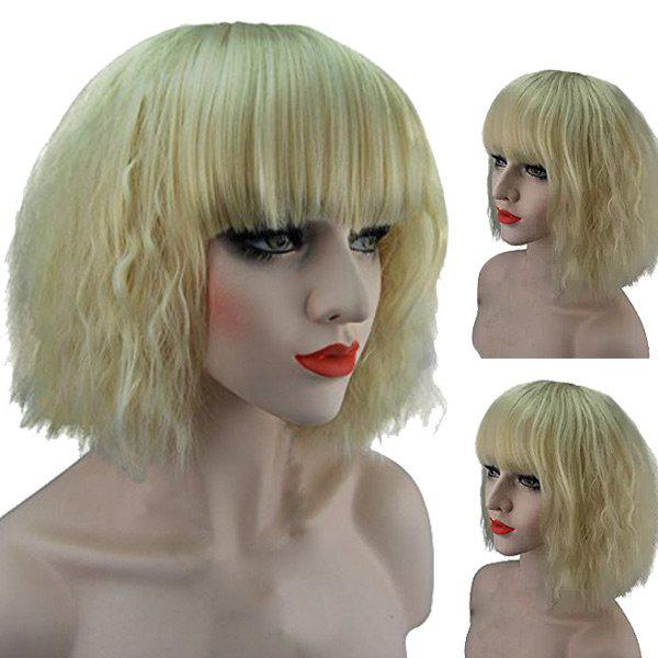 Fancy Short Full Bang Fluffy Natural Wavy Synthetic Wig