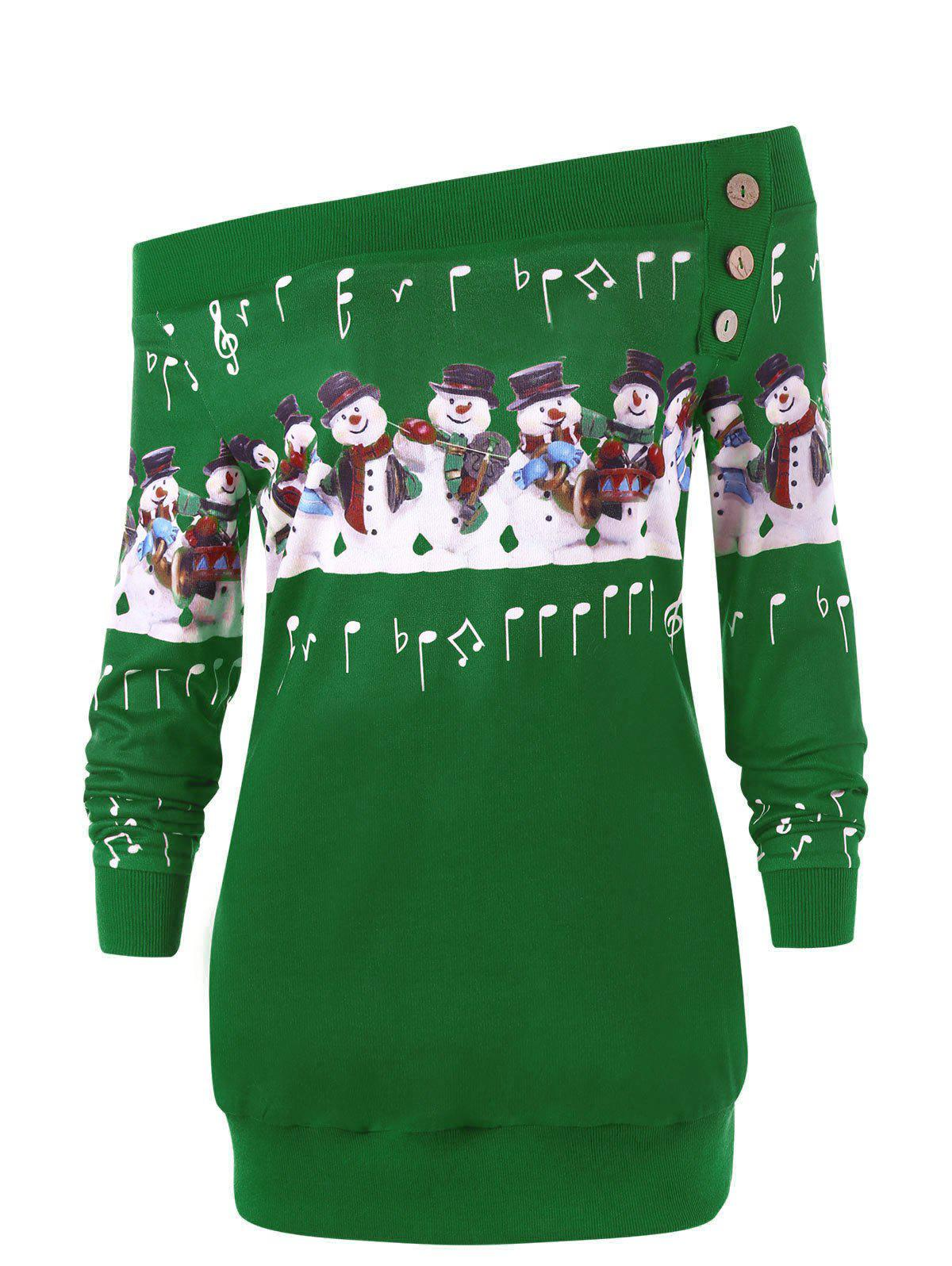 Fashion Christmas Plus Size Off The Shoulder Snowman Sweatshirt