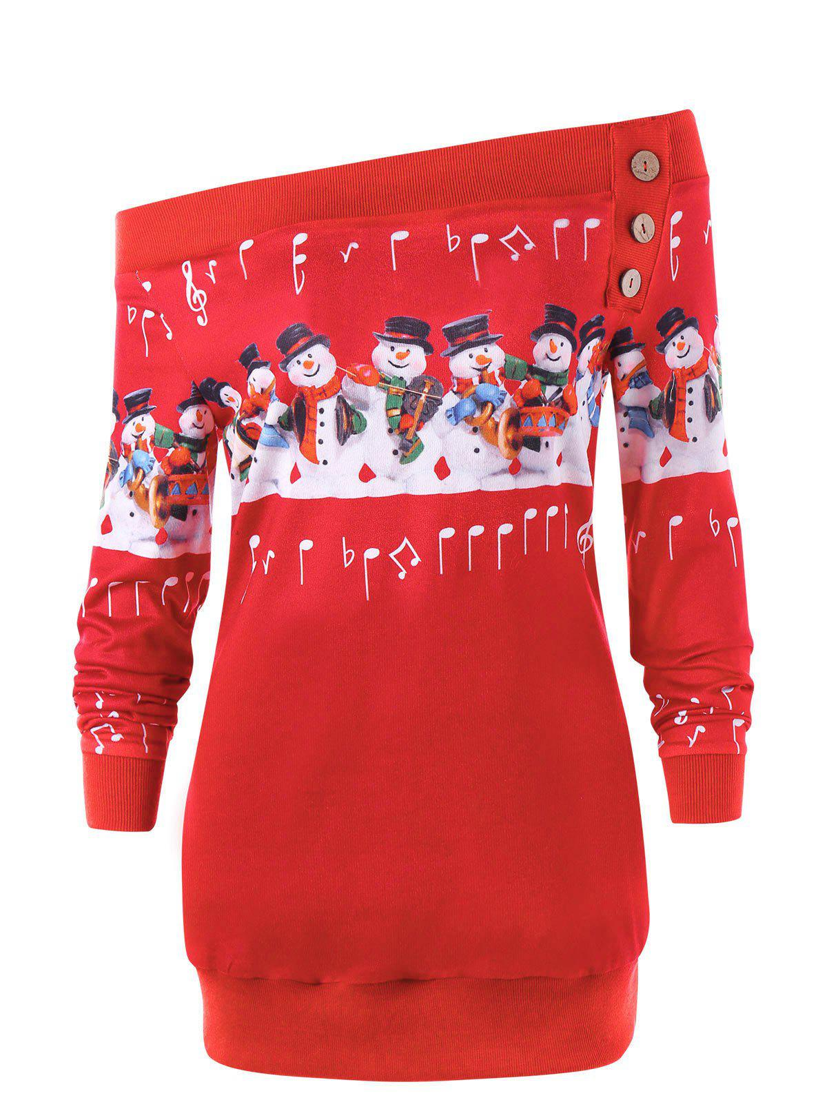 New Christmas Plus Size Off The Shoulder Snowman Sweatshirt