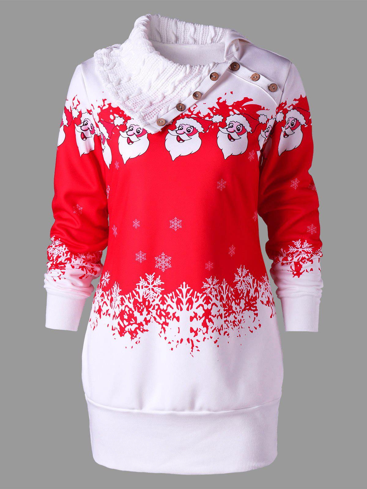Santa Claus Print Plus Size Tunic Sweatshirt DressWOMEN<br><br>Size: XL; Color: RED; Style: Cute; Material: Polyester; Silhouette: Bodycon; Dresses Length: Mini; Neckline: Flat Collar; Sleeve Length: Long Sleeves; Waist: Natural; Embellishment: Button; Pattern Type: Character,Print; With Belt: No; Season: Fall,Spring,Winter; Weight: 0.6200kg; Package Contents: 1 x Dress;