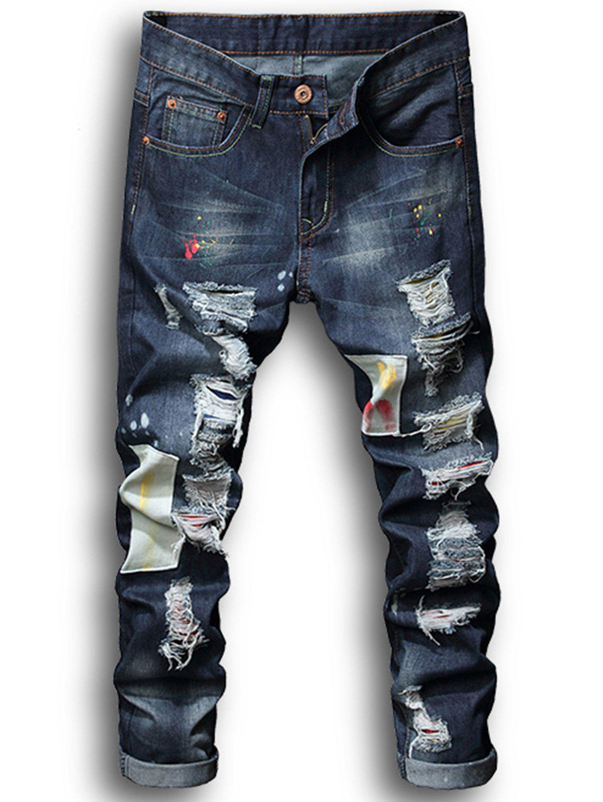 New Paint Patch Embroidered Ripped Jeans