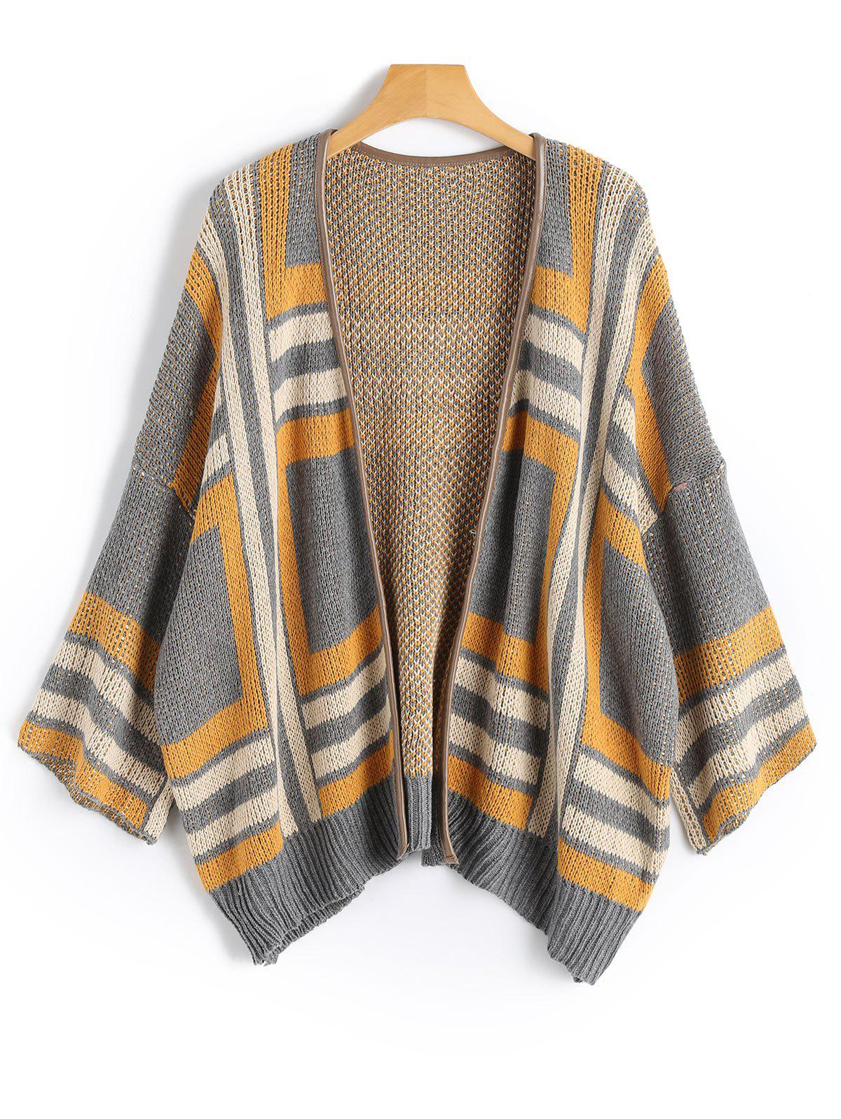 Shops Faux Leather Panel Open Front Geometric Cardigan