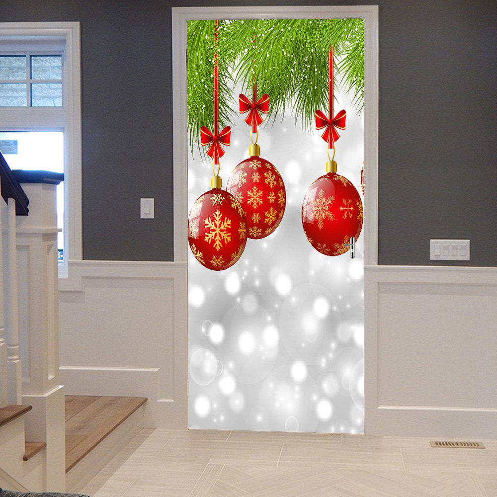 Christmas Baubles Pattern Door Cover StickersHOME<br><br>Size: 38.5*200CM*2PCS; Color: COLORMIX; Wall Sticker Type: Plane Wall Stickers; Functions: Decorative Wall Stickers; Theme: Christmas; Pattern Type: Ball,Plant; Material: PVC; Feature: Removable; Weight: 0.4500kg; Package Contents: 2 x Door Stickers (Sheet);