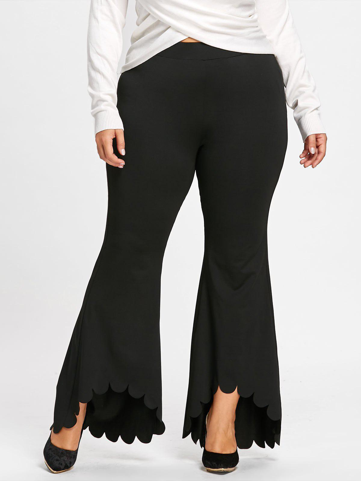 Best Plus Size Scalloped Edge Dip Hem Flare Pants