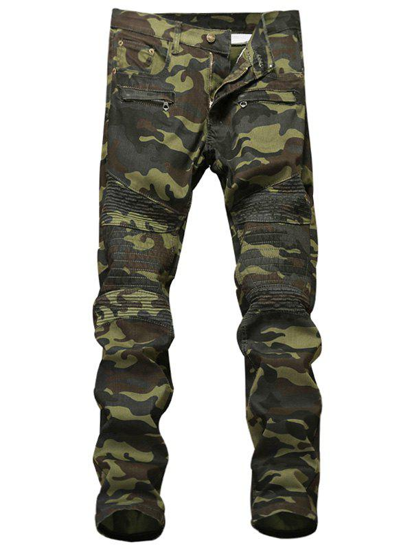 Fashion Pleat Zipper Fly Camouflage Cargo Pants