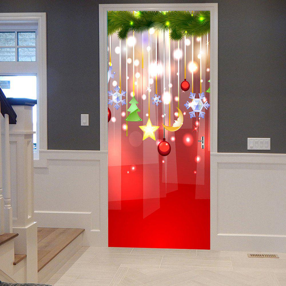 Christmas Hanging Decorations Pattern Door Cover StickersHOME<br><br>Size: 38.5*200CM*2PCS; Color: COLORMIX; Wall Sticker Type: Plane Wall Stickers; Functions: Stair Stickers; Theme: Christmas; Pattern Type: Plant,Star; Material: PVC; Feature: Removable; Weight: 0.4500kg; Package Contents: 2 x Door Stickers (Sheet);