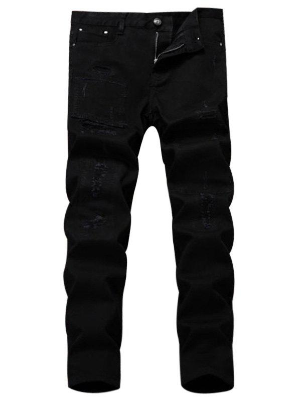 Shop Straight Leg Applique Ripped Pants