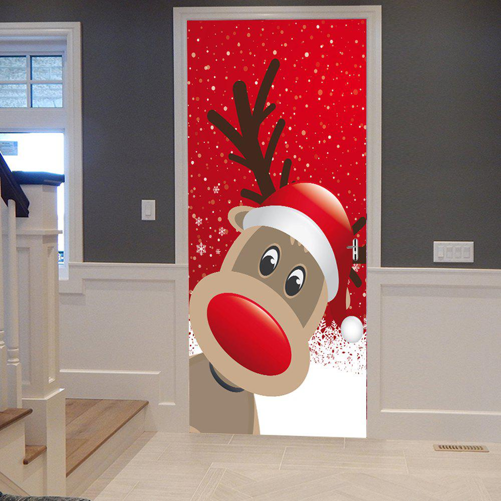 Christmas Deer Pattern Door Cover StickersHOME<br><br>Size: 38.5*200CM*2PCS; Color: RED; Wall Sticker Type: Plane Wall Stickers; Functions: Decorative Wall Stickers; Theme: Christmas; Pattern Type: Animal; Material: PVC; Feature: Removable; Weight: 0.4500kg; Package Contents: 2 x Door Stickers (Sheet);