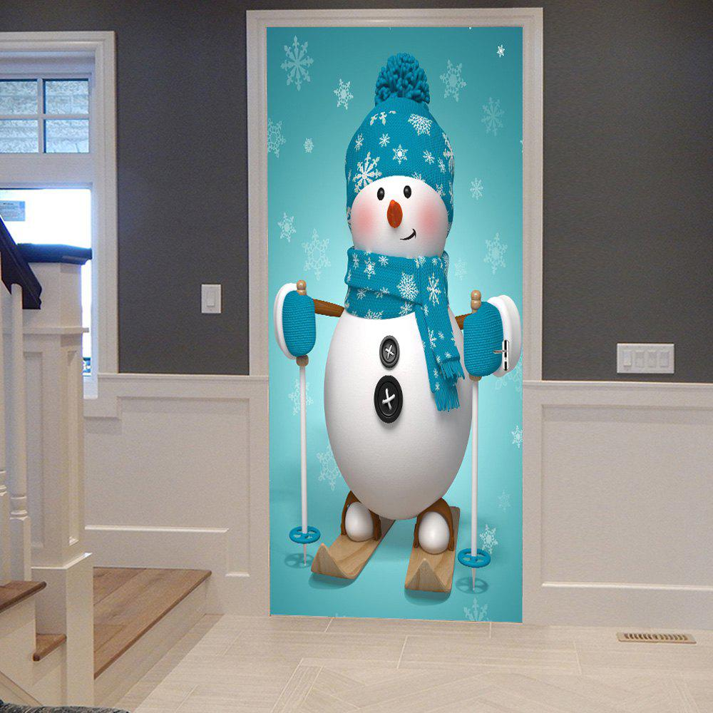 Online Christmas Snowman Pattern Door Cover Stickers