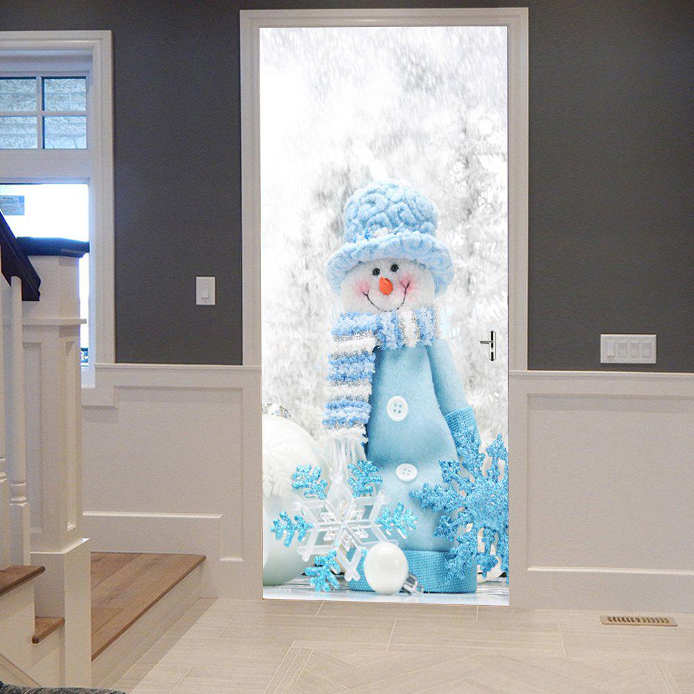 Christmas Snowman Snowflake Pattern Door Cover StickersHOME<br><br>Size: 38.5*200CM*2PCS; Color: COLORMIX; Wall Sticker Type: Plane Wall Stickers; Functions: Decorative Wall Stickers; Theme: Christmas; Pattern Type: Snowman; Material: PVC; Feature: Removable; Weight: 0.4500kg; Package Contents: 2 x Door Stickers (Sheet);