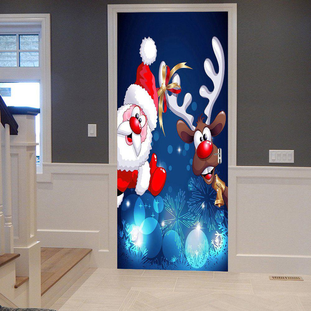 Chic Christmas Santa Deer Pattern Door Cover Stickers