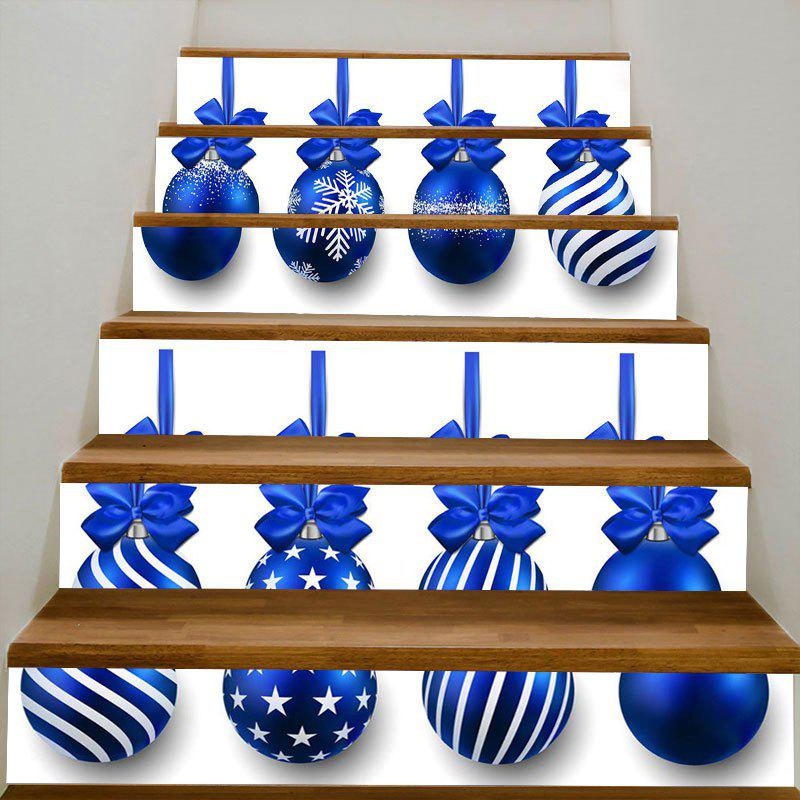 Hanging Christmas Balls Print Stair StickersHOME<br><br>Size: 100*18CM*6PCS; Color: BLUE; Wall Sticker Type: 3D Wall Stickers; Functions: Stair Stickers; Theme: Christmas; Pattern Type: Ball; Material: PVC; Feature: Removable; Weight: 0.3100kg; Package Contents: 6 x Stair Stickers (Pcs);