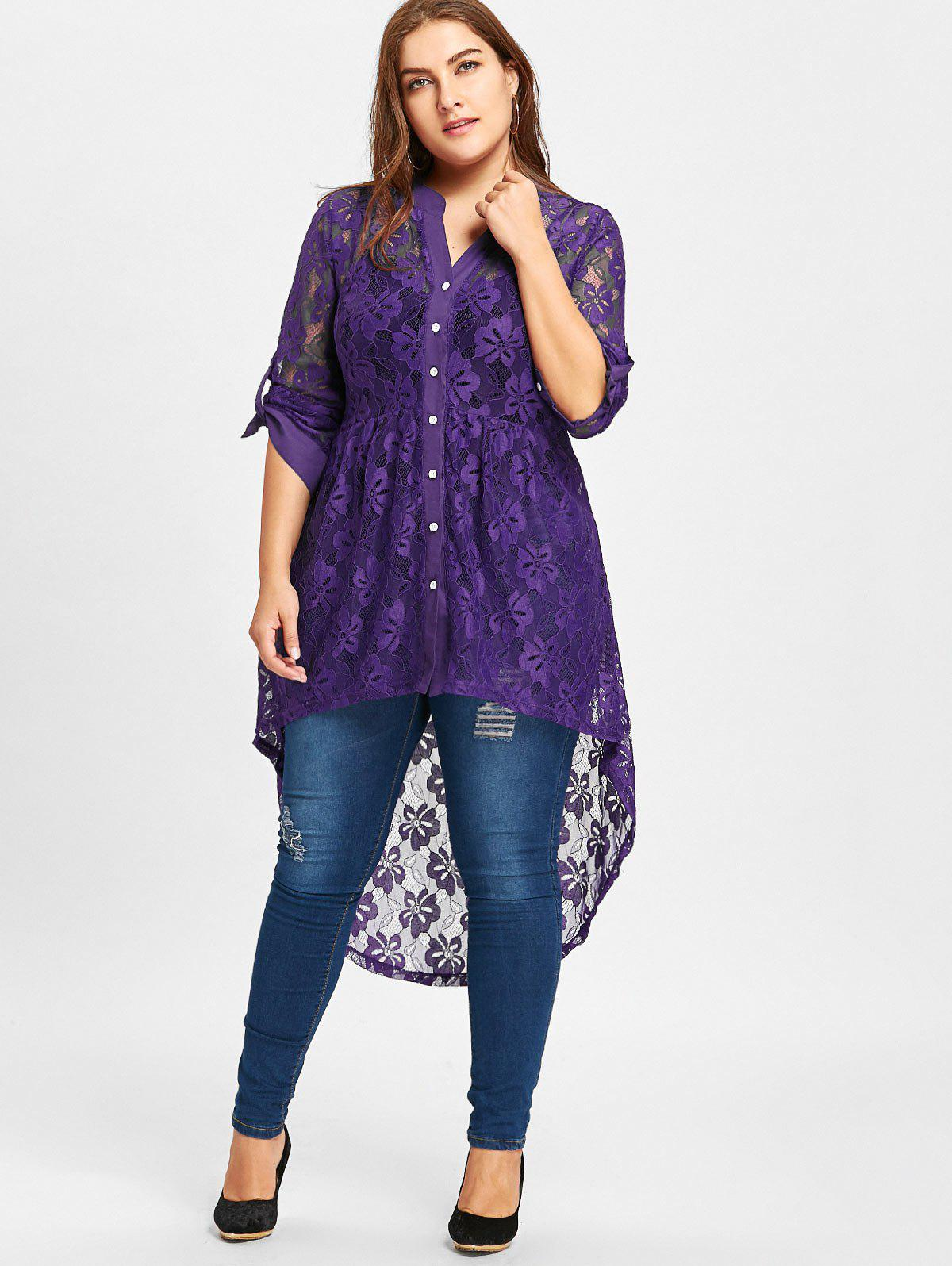 High Low Lace Long Sleeve Plus Size TopWOMEN<br><br>Size: 5XL; Color: PURPLE; Material: Polyester; Shirt Length: Long; Sleeve Length: Full; Collar: V-Neck; Style: Fashion; Season: Fall,Spring; Pattern Type: Solid; Weight: 0.2600kg; Package Contents: 1 x Top;