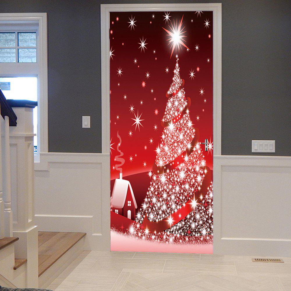 Sparkling Christmas Tree Pattern Door Cover StickersHOME<br><br>Size: 38.5*200CM*2PCS; Color: RED; Wall Sticker Type: Plane Wall Stickers; Functions: Decorative Wall Stickers; Theme: Christmas; Pattern Type: Christmas Tree; Material: PVC; Feature: Removable; Weight: 0.4500kg; Package Contents: 2 x Door Stickers (Sheet);