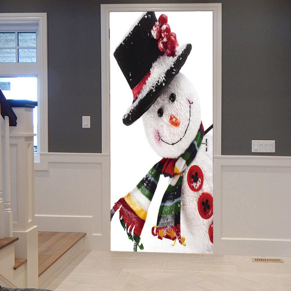 Christmas Snowman Pattern Door Art StickersHOME<br><br>Size: 38.5*200CM*2PCS; Color: WHITE; Wall Sticker Type: 3D Wall Stickers; Functions: Decorative Wall Stickers; Theme: Christmas; Pattern Type: Snowman; Material: PVC; Feature: Removable; Weight: 0.4500kg; Package Contents: 2 x Door Stickers (Sheet);