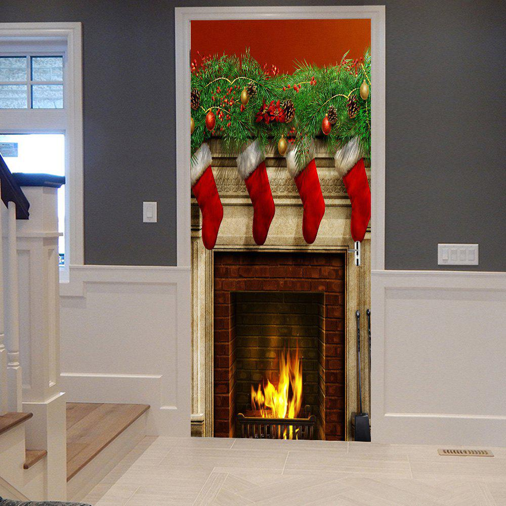 Unique Christmas Stockings Fireplace Pattern Door Stickers