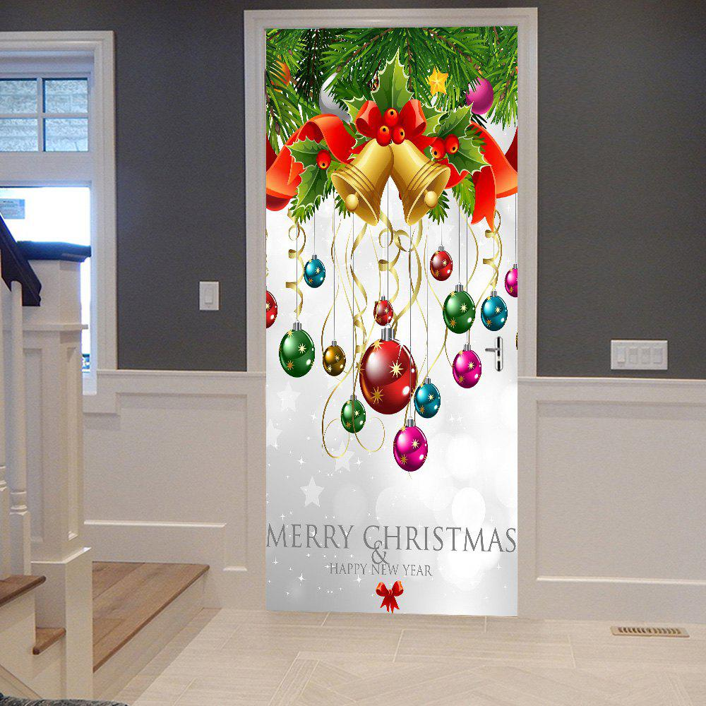 Christmas Ornaments Pattern Door StickersHOME<br><br>Size: 38.5*200CM*2PCS; Color: COLORMIX; Wall Sticker Type: 3D Wall Stickers; Functions: Decorative Wall Stickers; Theme: Christmas; Pattern Type: Ball,Plant; Material: PVC; Feature: Removable; Weight: 0.4500kg; Package Contents: 2 x Door Stickers (Sheet);