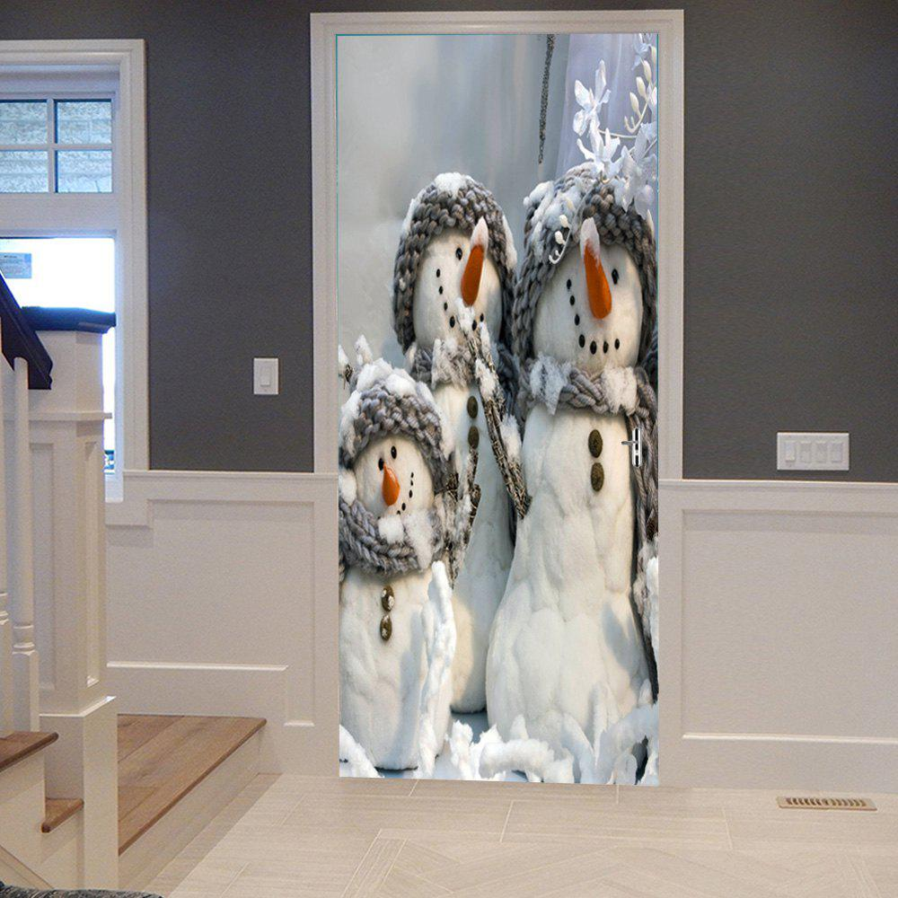 Christmas Snowman Family Pattern Door StickersHOME<br><br>Size: 38.5*200CM*2PCS; Color: WHITE + GREY; Wall Sticker Type: 3D Wall Stickers; Functions: Decorative Wall Stickers; Theme: Christmas; Pattern Type: Snowman; Material: PVC; Feature: Removable; Weight: 0.4500kg; Package Contents: 2 x Door Stickers (Sheet);
