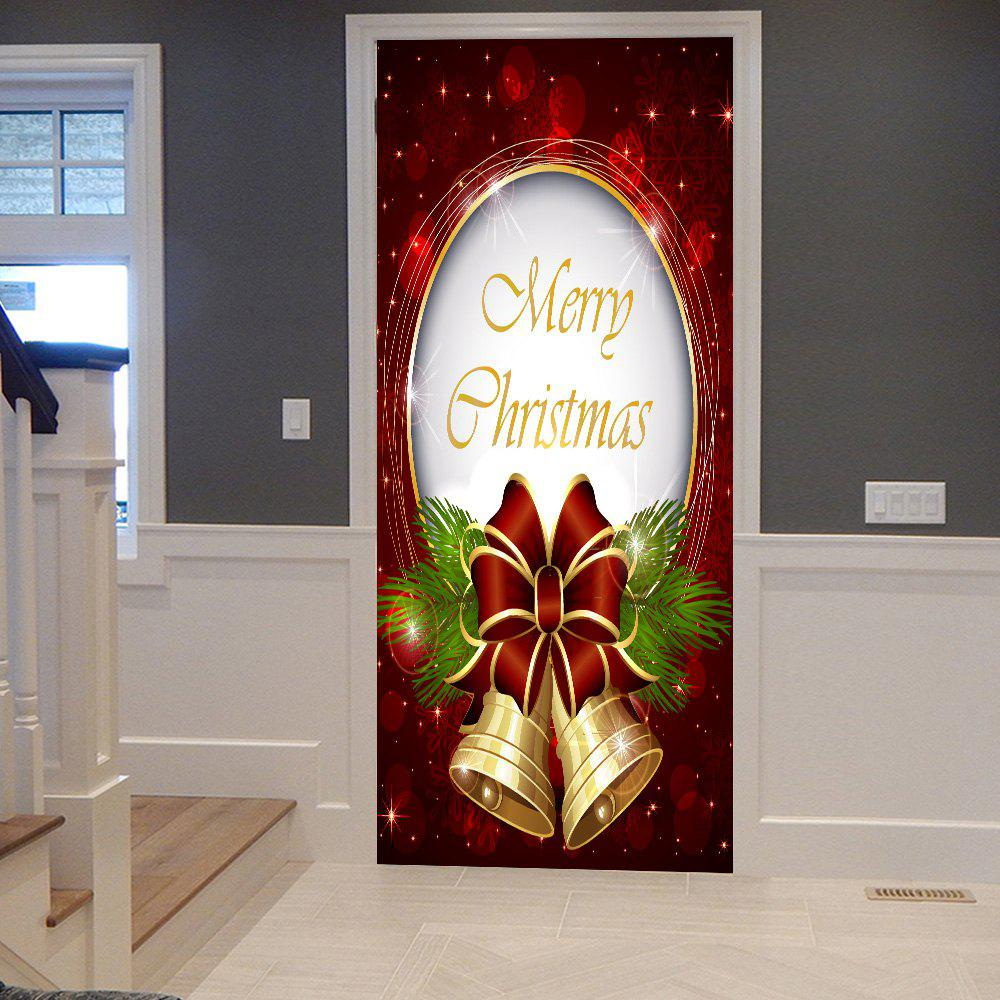 Christmas Bells Pattern Door StickersHOME<br><br>Size: 38.5*200CM*2PCS; Color: COLORMIX; Wall Sticker Type: Plane Wall Stickers; Functions: Decorative Wall Stickers; Theme: Christmas; Pattern Type: Letter; Material: PVC; Feature: Removable; Weight: 0.4500kg; Package Contents: 2 x Door Stickers (Sheet);