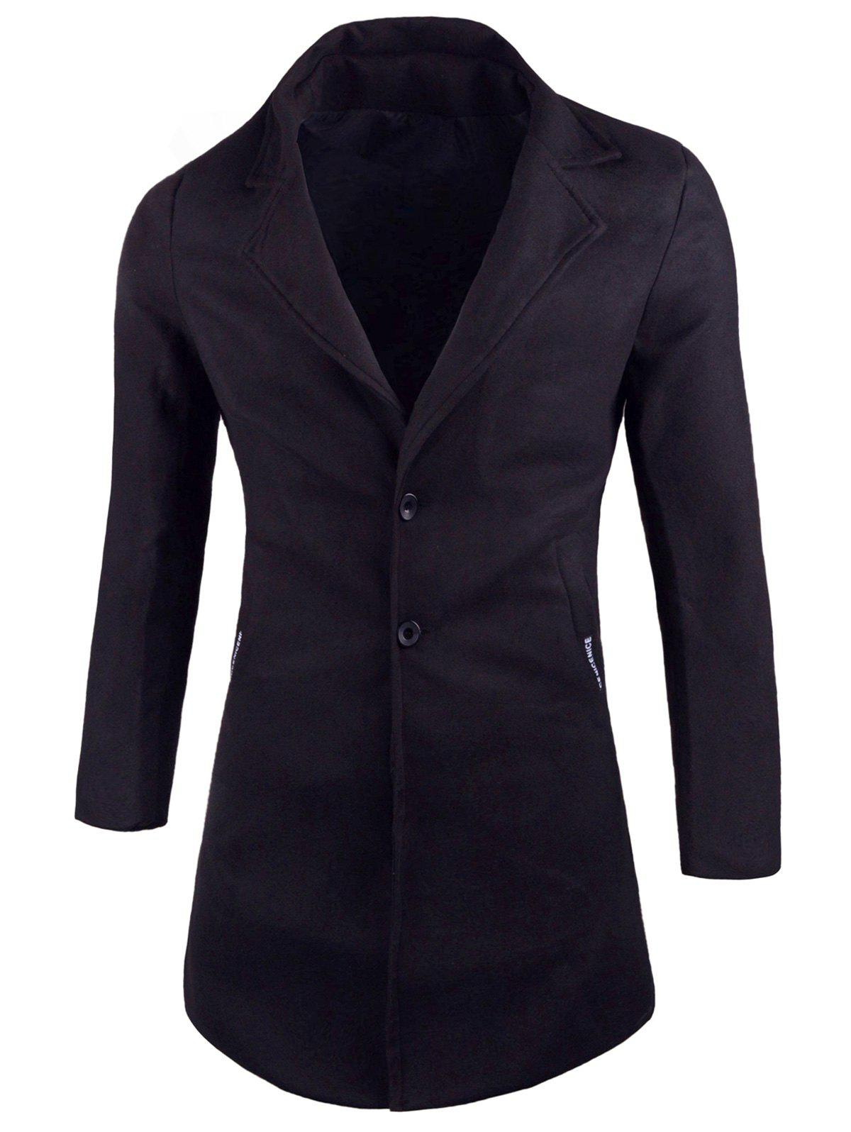 Outfits Two Button Lapel Wool Blend Coat