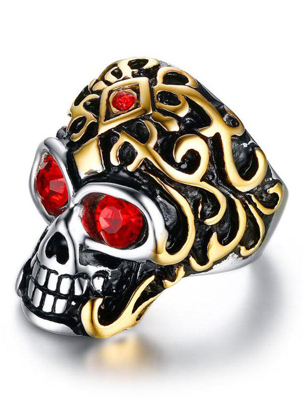 Buy Rhinestone Stainless Steel Skull Finger Ring