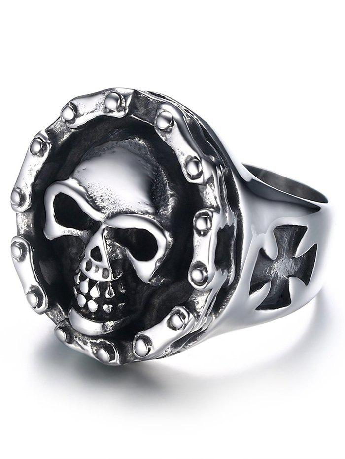 Fancy Engraved Skull Crucifix Stainless Steel Ring
