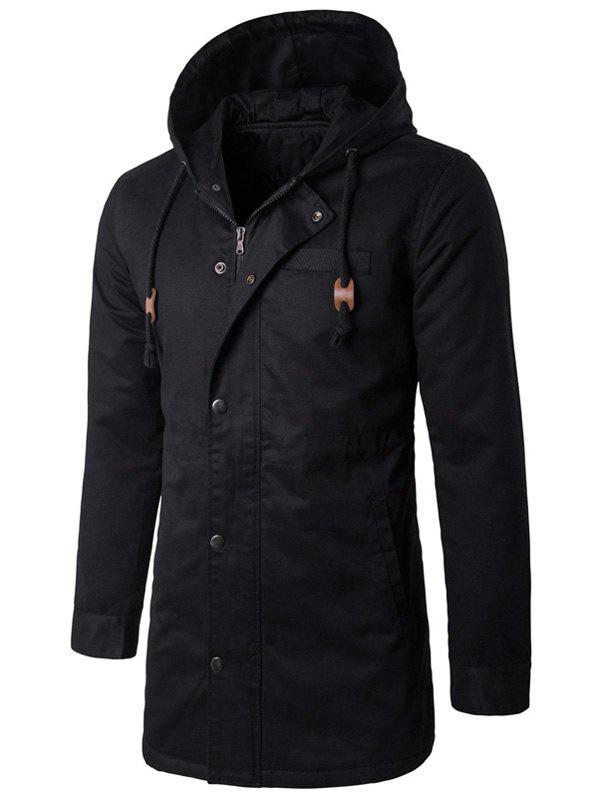Buy Hooded Drawstring Longline Zip Up Padded Coat