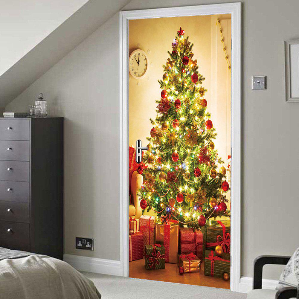 Christmas Tree Gift Pattern Door Cover StickersHOME<br><br>Size: 38.5*200CM*2PCS; Color: COLORMIX; Wall Sticker Type: Plane Wall Stickers; Functions: Decorative Wall Stickers; Theme: Christmas; Pattern Type: Christmas Tree; Material: PVC; Feature: Removable; Weight: 0.4500kg; Package Contents: 2 x Door Stickers (Sheet);