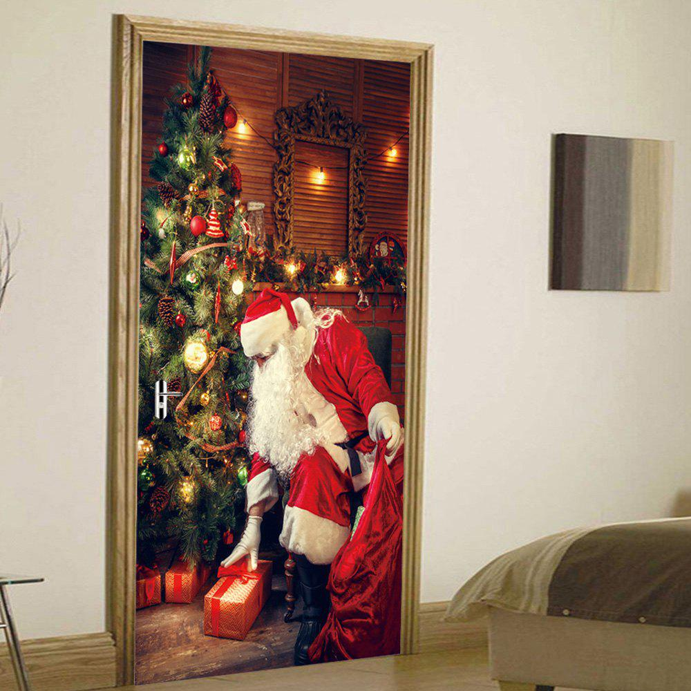 Christmas Tree Santa Pattern Door Cover StickersHOME<br><br>Size: 38.5*200CM*2PCS; Color: COLORMIX; Wall Sticker Type: Plane Wall Stickers; Functions: Decorative Wall Stickers; Theme: Christmas; Pattern Type: Christmas Tree,Santa Claus; Material: PVC; Feature: Removable; Weight: 0.4500kg; Package Contents: 2 x Door Stickers (Sheet);
