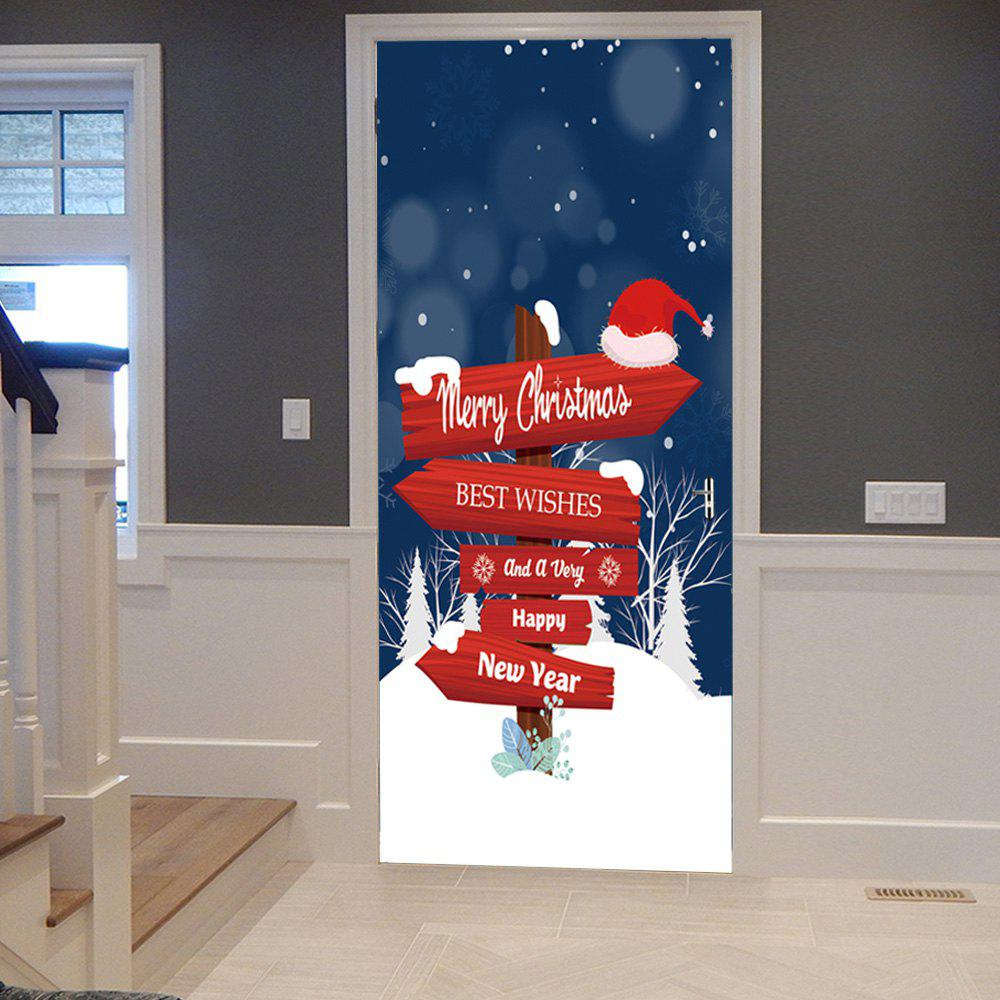 Christmas Fingerpost Printed Door Decor StickersHOME<br><br>Size: 38.5*300CM*2PCS; Color: COLORMIX; Wall Sticker Type: 3D Wall Stickers; Functions: Decorative Wall Stickers; Theme: Christmas; Pattern Type: Letter; Material: PVC; Feature: Removable; Weight: 0.4500kg; Package Contents: 2 x Door Stickers (Sheet);