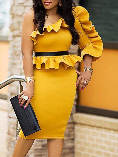 Fashion One Shoulder Ruffle Peplum Dress