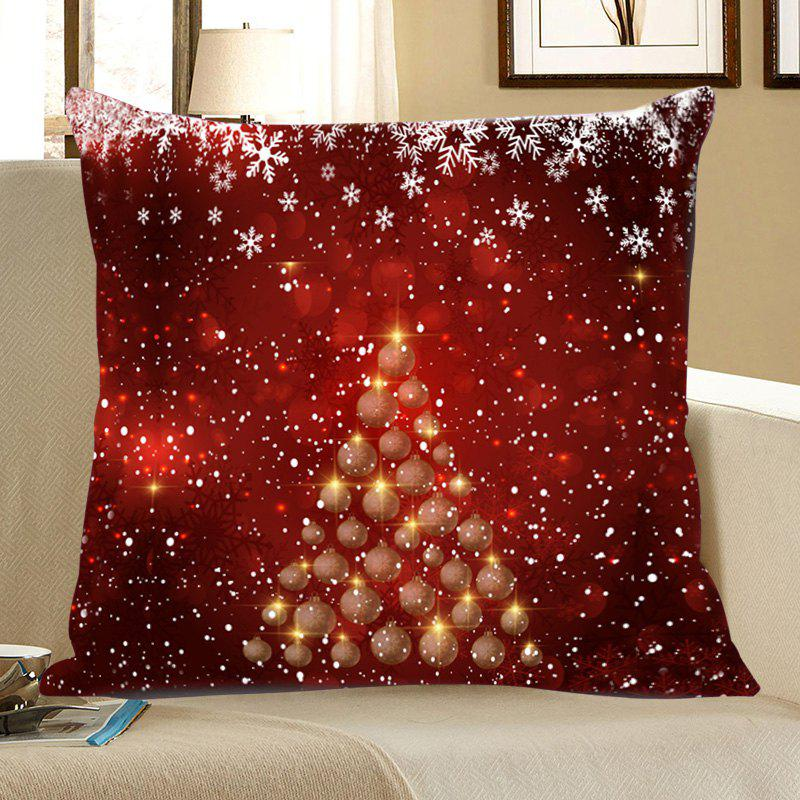 Chic Snowflakes Balls Christmas Tree Patterned Throw Pillow Case