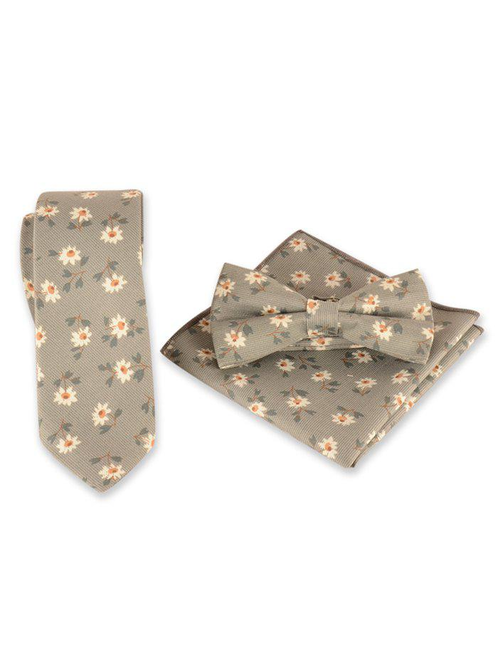 New Vintage Daisy Pattern Embroidery Necktie Bowtie Set