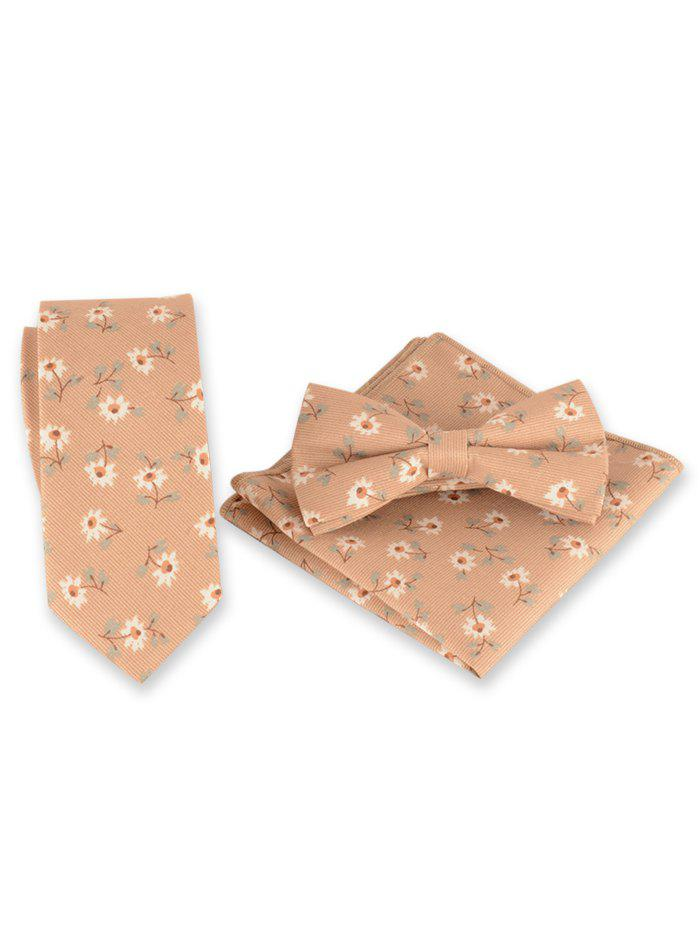 Fancy Vintage Daisy Pattern Embroidery Necktie Bowtie Set