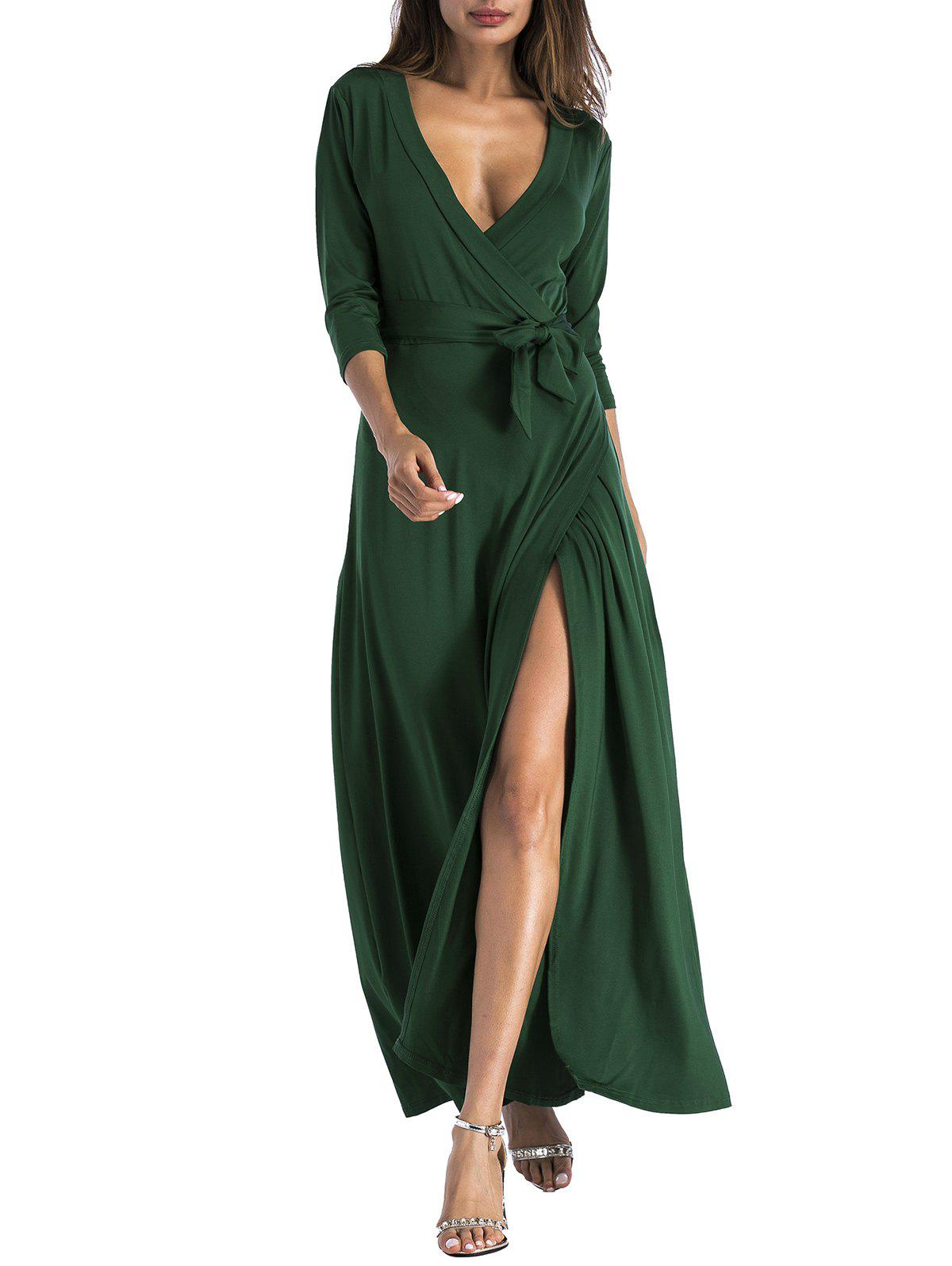 Unique Plunging Belted Surplice High Slit Maxi Dress