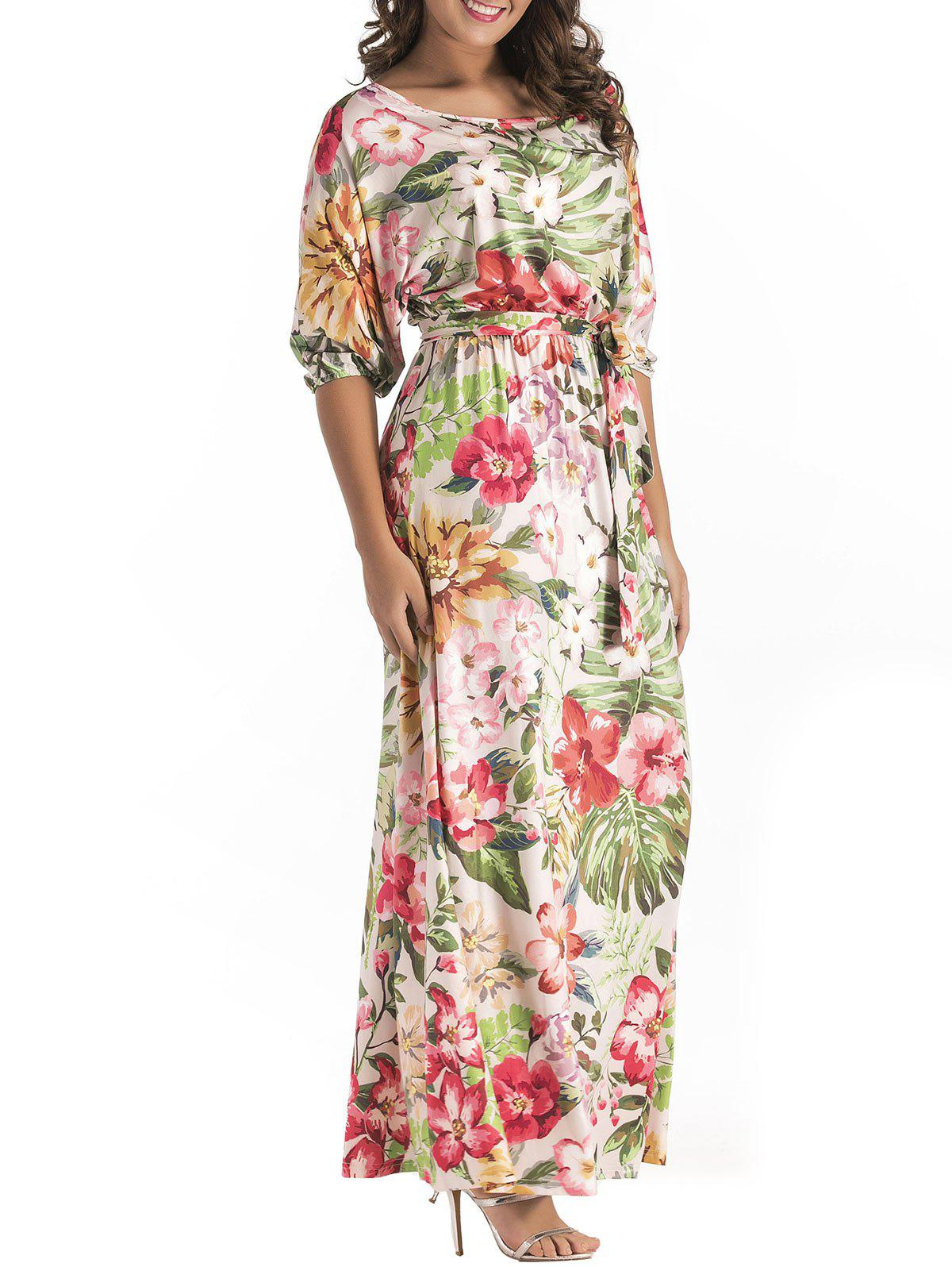 Fashion Batwing Sleeve Floral Print Belted Maxi Dress
