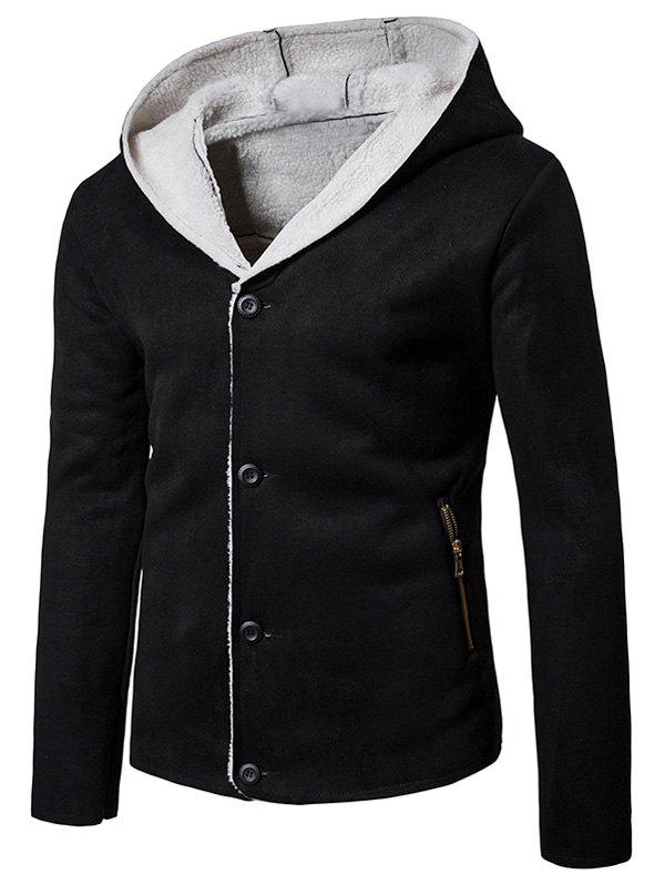 Hot Hooded Button Up Fleece Suede Jacket