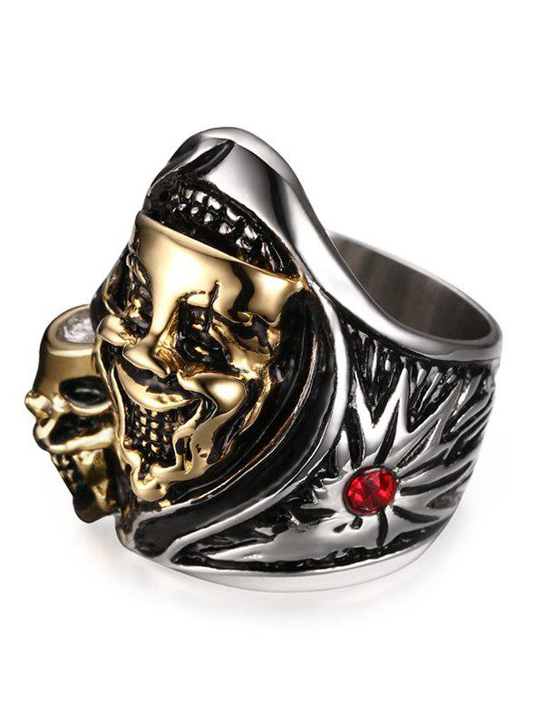 Chic Stainless Steel Rhinestone Funny Skull Ring