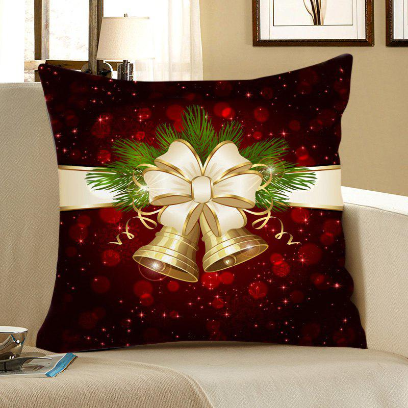 Trendy Christmas Bell Printed Square Pillow Case