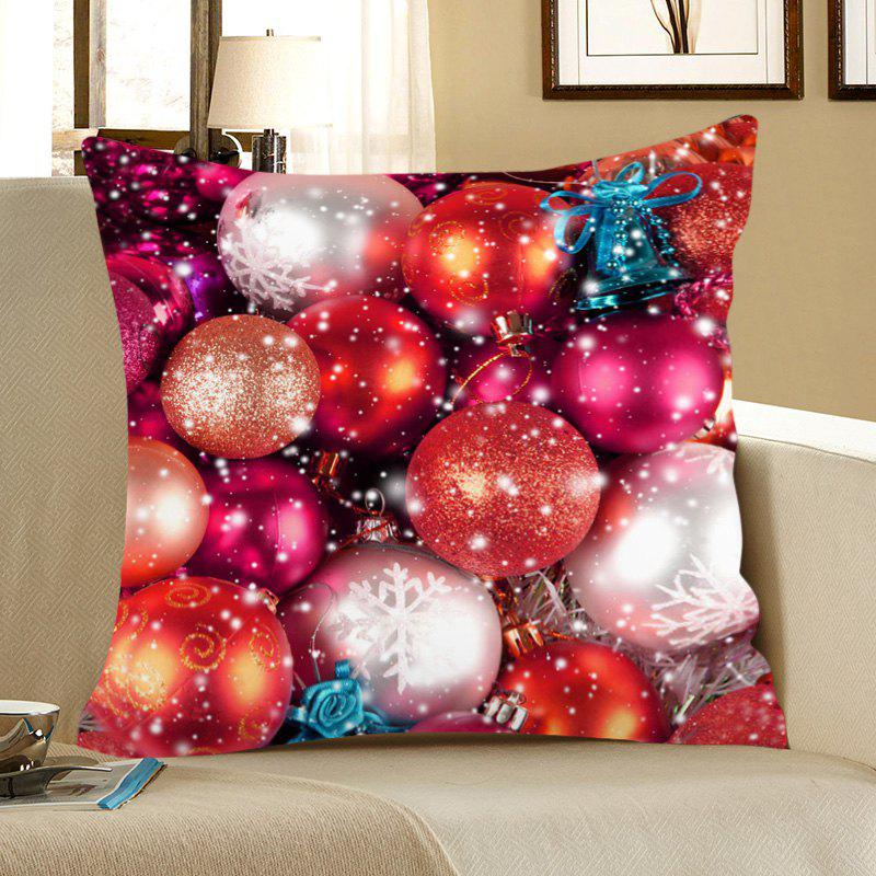 Colored Balls Printed Linen Pillow CaseHOME<br><br>Size: W18 INCH * L18 INCH; Color: COLORFUL; Material: Linen; Pattern: Baubles; Style: Festival; Shape: Square; Weight: 0.0700kg; Package Contents: 1 x Pillow Case;
