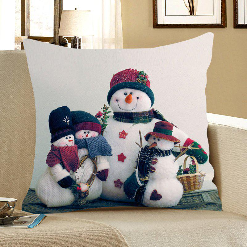 Snowmen Pattern Home Decor Pillow CaseHOME<br><br>Size: W18 INCH * L18 INCH; Color: COLORFUL; Material: Linen; Pattern: Snowman; Style: Festival; Shape: Square; Weight: 0.0700kg; Package Contents: 1 x Pillow Case;