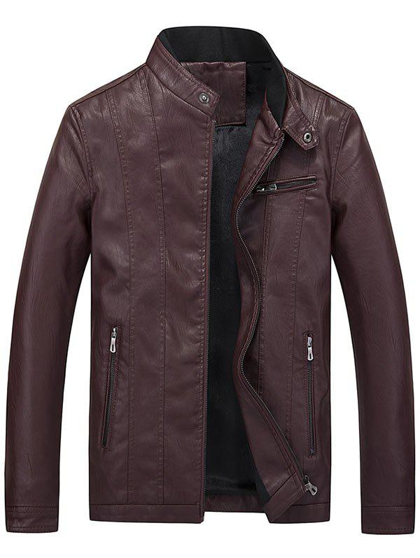 Latest Flocking Casual Faux Leather Jacket with Zipper Pocket