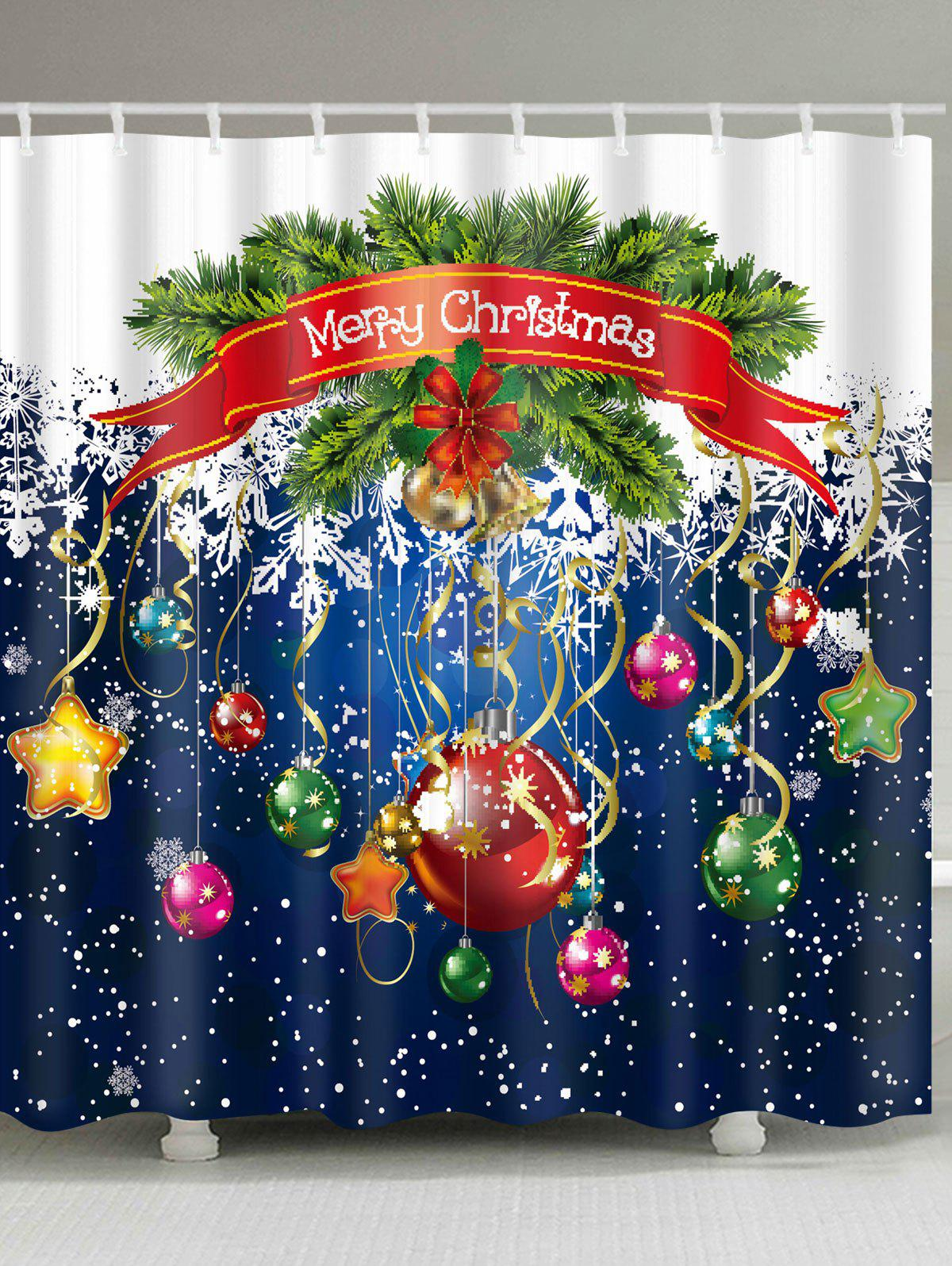 Cheap Christmas Ornaments Printed Waterproof Polyester Shower Curtain