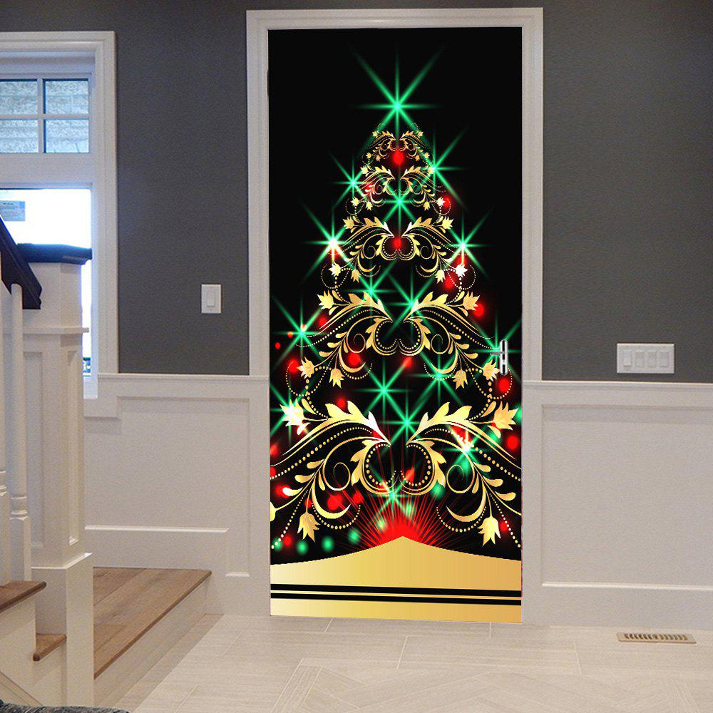 Sparkling Christmas Tree Pattern Door Decor StickersHOME<br><br>Size: 38.5*200CM*2PCS; Color: COLORMIX; Wall Sticker Type: Plane Wall Stickers; Functions: Decorative Wall Stickers; Theme: Christmas; Pattern Type: Christmas Tree; Material: PVC; Feature: Removable; Weight: 0.4500kg; Package Contents: 2 x Door Stickers (Sheet);