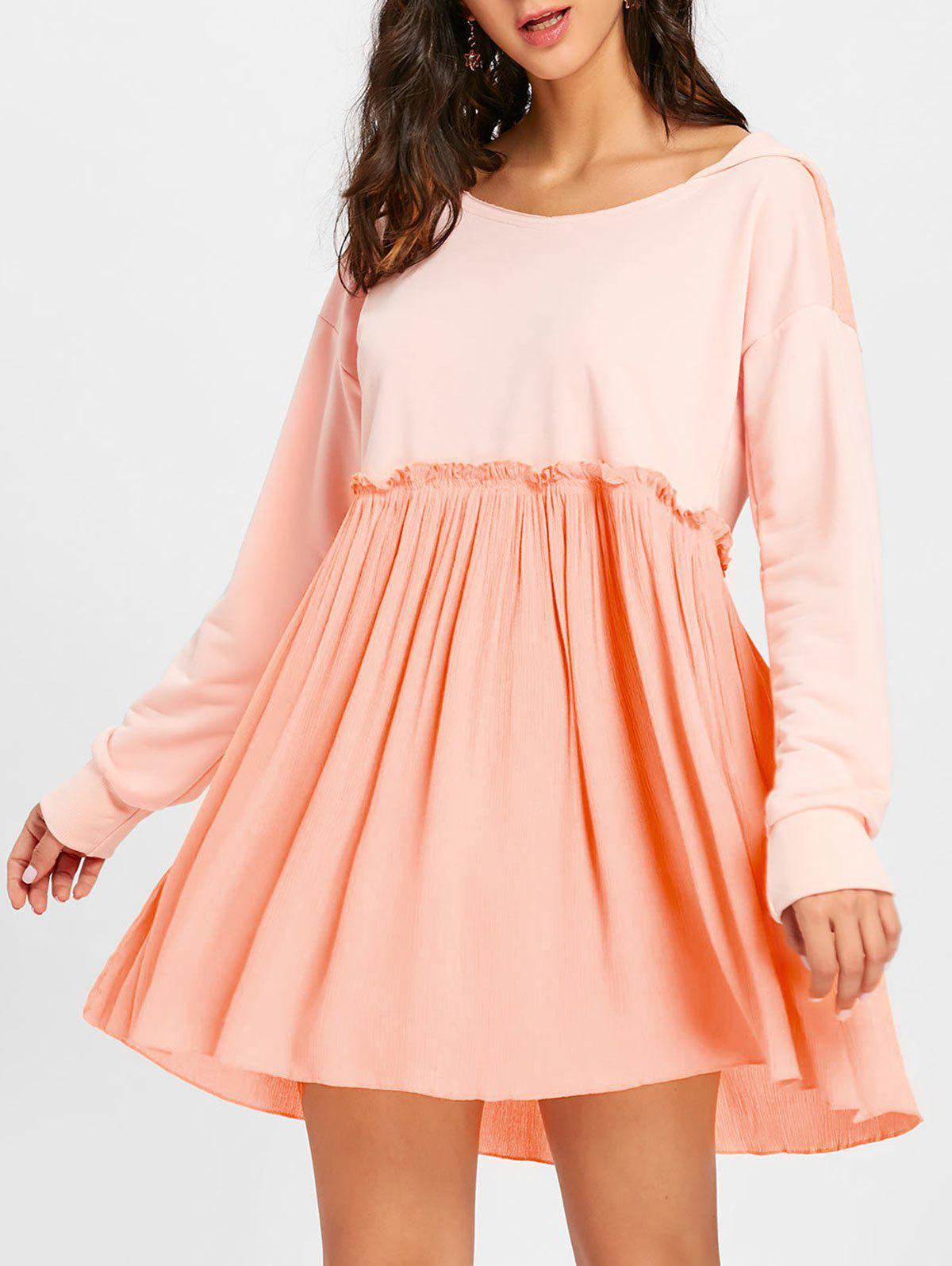 Shops Long Sleeve Hooded Pleated Dress