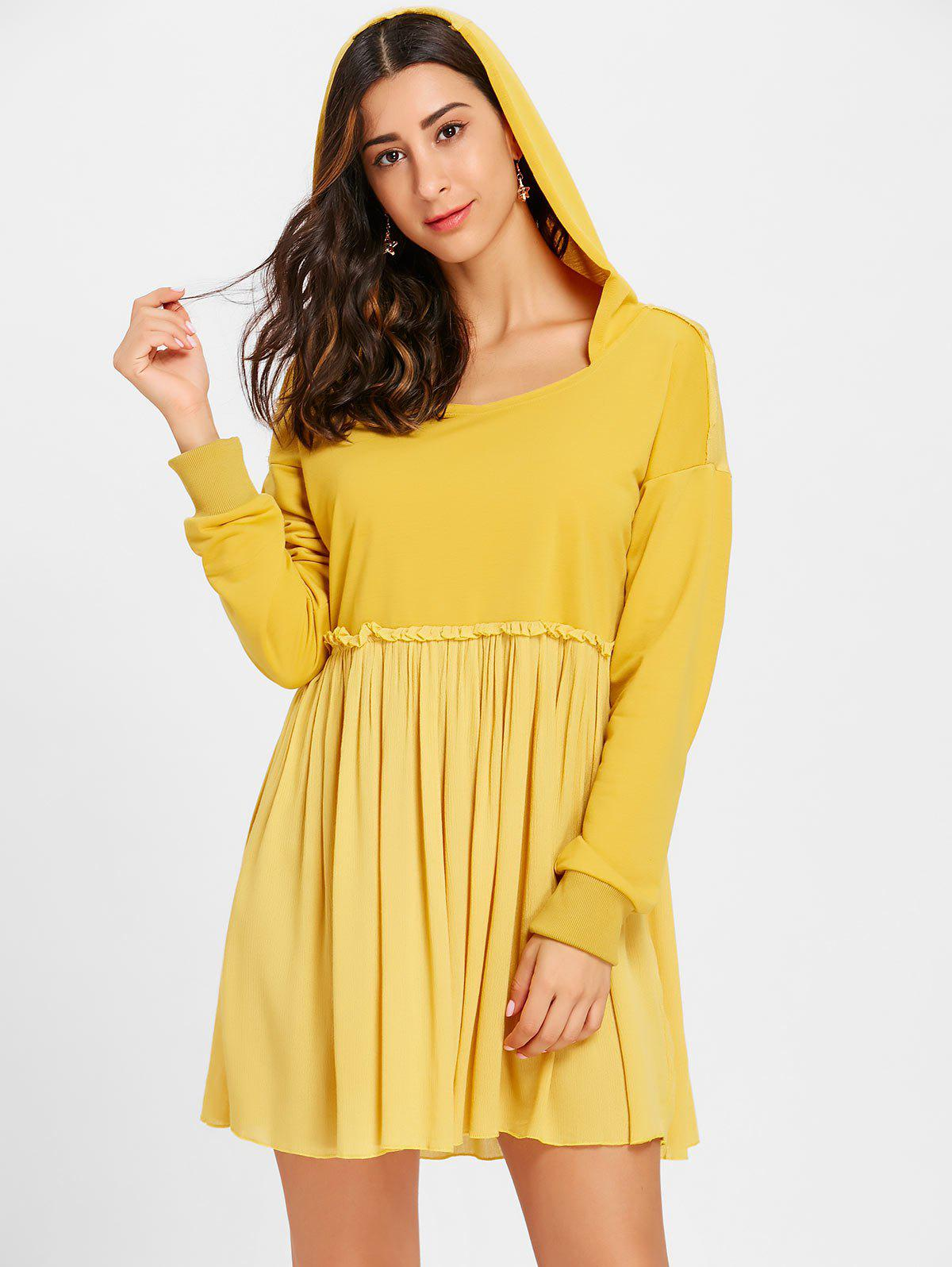 Shop Long Sleeve Hooded Pleated Dress
